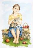 Freundschaft eines Mädchens und der Katze lizenzfreie abbildung
