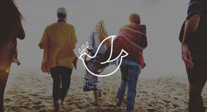 Freundschafts-Abbinden-Entspannungs-Sommer-Strand-Friedenskonzept Stockbilder