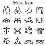 Freundschafts- u. Verhältnis-Ikonen in der dünnen Linie Art Lizenzfreie Stockfotografie