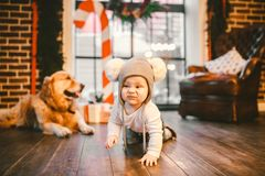 Freundschaftsmannkind und Hundehaustier Thema-Weihnachtsneues Jahr-Winterurlaube Das Babykriechen den verzierten lernt Wegbretter lizenzfreie stockfotografie