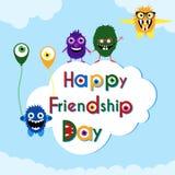 Freundschaftstagesgrußkarte mit netten Monstern lizenzfreie abbildung