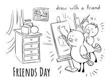 Freundtag - lernen Sie, mit Freund zu zeichnen vektor abbildung