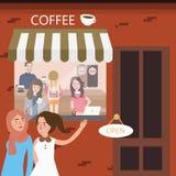 Freundtreffpunkt in der Kaffeestuberestaurantsitzung Stockbild