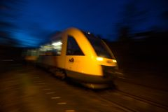 Hlb hessische landesbahn train speeding in the evening freusburg germany royalty free stock images
