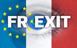 Frexit eye looks through France flag Royalty Free Stock Photo