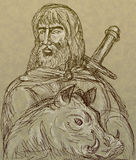 Frey Norse god sword boar Stock Photography
