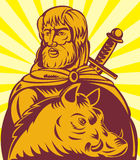 Frey Norse god sword and boar Royalty Free Stock Photo