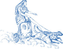 Freya Norse goddess. Illustration of Freya Norse goddess of love and beauty riding a chariot being pulled by two cats stock illustration