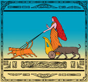 Freya Norse goddess chariot cat. Art deco style illustration of a Freya Norse goddess of love and beauty riding a chariot pulled by her two cats and wild boar royalty free illustration