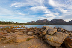 Freycinet national park beach. Big granite rocks with view of Ha Royalty Free Stock Image