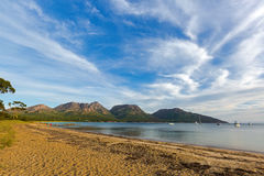 Freycinet national park beach in the evening, View of Hazards mo royalty free stock photography