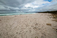 Freycinet Friendly Beach. The Friendly Beaches are pristine white sand kilometers long where you can go surfing. Are located within the Freycinet Peninsula Royalty Free Stock Photo