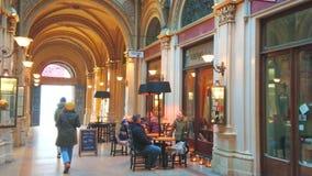 Freyung Passage of Ferstel Palace, Vienna, Austria stock video footage