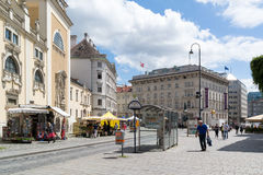 Freyung square street scene with people, Vienna, Austria royalty free stock photos