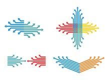 Färga fastställda pilar Arkivbild