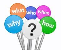 Fråga Mark And Customer Questions Royaltyfri Foto