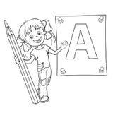 Färga sidaöversikten av en tecknad filmflicka med blyertspennan och stor le Arkivfoto