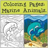 Färga sidor: Marine Animals Moderdelfin simmar med behandla som ett barn Arkivfoto