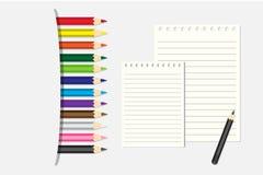 Färgad blyertspennor och notepad för vektor illustration Royaltyfri Foto