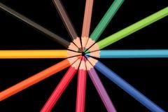 färgade blyertspennor Arkivfoton