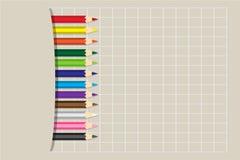 Färgade blyertspennor för vektor illustration Arkivbilder