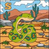 Färgalfabet för barn: bokstav S (orm) Arkivfoton