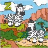 Färgalfabet för barn: bokstav Z (sebra) Arkivbild
