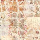 Färgar antika mönstrad bakgrund för tappning rosor i lantlig nedgång Royaltyfri Fotografi