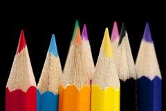 färgblyertspennaspetsar Arkivfoton