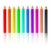färgblyertspennor Arkivfoton