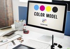 Färgdesignmodell Art Paint Pigment Motion Concept Arkivfoto