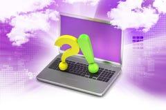 Frågefläck med utropsteckenet med bärbara datorn Arkivbild