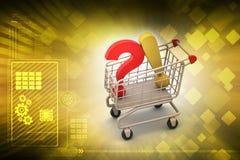 Frågefläck med utropsteckenet med shoppingvagnen Royaltyfria Foton