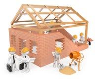 frågewhite för folk 3d Byggnadsarbetare som bygger ett hus Royaltyfri Foto