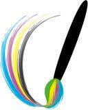 Färgglad målarpensel med målarfärgfärgstänk Royaltyfria Bilder