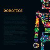 Färgglad robotkrigarecyborg Vektor EPS 10 Arkivfoton
