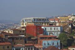 Färgglad stad av Valparaiso, Chile Arkivfoton