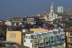 Färgglad stad av Valparaiso, Chile Arkivbild
