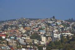 Färgglad stad av Valparaiso, Chile Arkivbilder