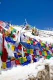 Färgglade bönflaggor på Khardung La Arkivfoto