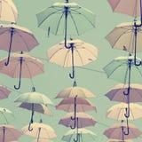 Färgglade magiska paraplyer i himlen Fotografering för Bildbyråer