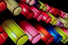 Färgglade tyglyktor Royaltyfria Bilder