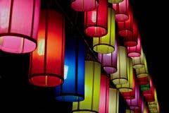 Färgglade tyglyktor Fotografering för Bildbyråer