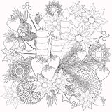 Färgläggningbarns böcker med den dekorativa blom- dekorativa beståndsdelillustrationen Arkivfoton