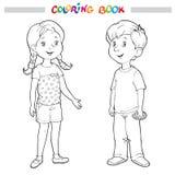 Färgläggningbok eller sida Pojke och flicka Arkivfoto