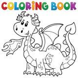 Färgläggningbok med den lyckliga draken Arkivbild