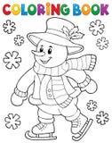 Färgläggningbok som åker skridskor snögubbetema 1 Arkivbild
