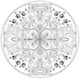 Färgläggningmandala med nyckelpigor Royaltyfri Bild