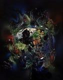 Färgrik abstrakt målning Arkivbilder