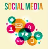 Färgrik bakgrund för socialt nätverksbegrepp Arkivbild